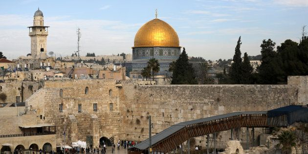 A general view of Jerusalem's Old City shows the Western Wall, Judaism's holiest prayer site, in the...