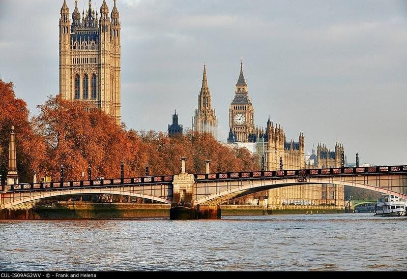 View of Lambeth Bridge, Houses of Parliament and the Thames, London,