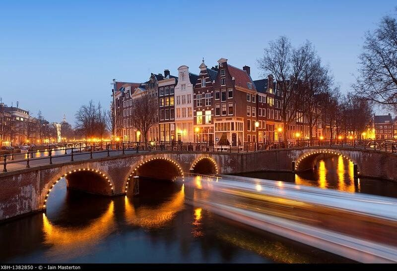Evening view of bridges crossing the Keizersgracht,canal in Amsterdam The