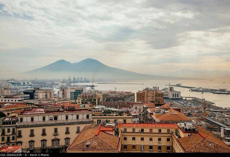 View of Mount Vesuvius over Naples,