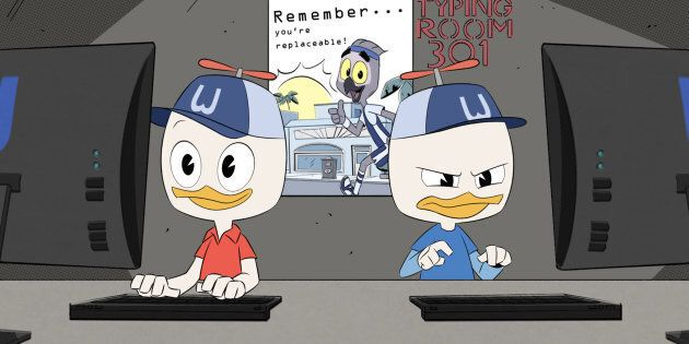 DUCKTALES - 'The Infernal Internship of Mark Beaks!' - Huey competes with Dewey for a coveted internship...