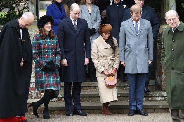 KING'S LYNN, ENGLAND - DECEMBER 25: Princess Beatrice, Princess Eugenie, Princess Anne, Princess Royal,...