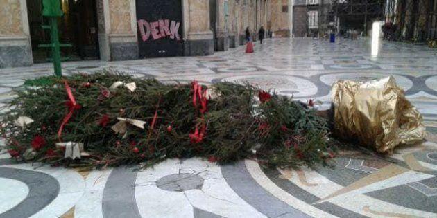 Napoli, abbattuto e vandalizzato per la terza volta l'albero di Natale.