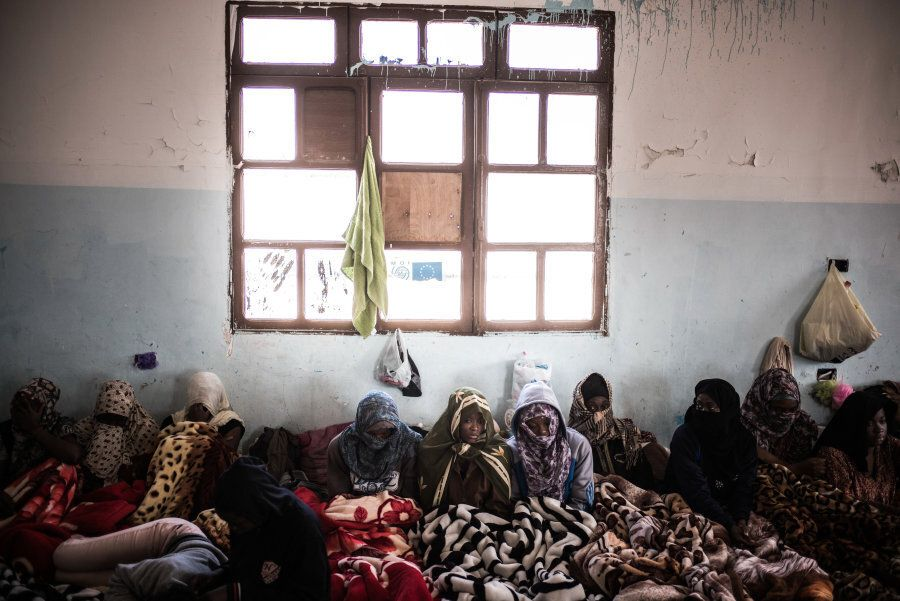 Women detained at female-only Sorman detention centre, around 60km west of Tripoli, Libya. Detainees...