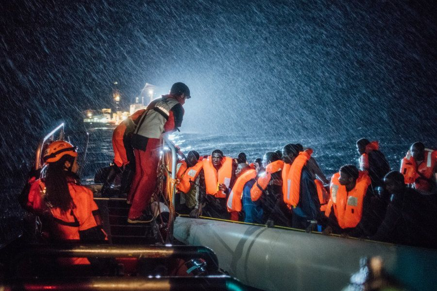 MSF and SOS Mediterannee Search and Rescue personnel operate in appalling conditions in the Mediterranean...