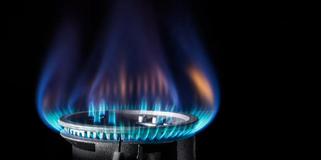 Flame of a gas burner on a dark