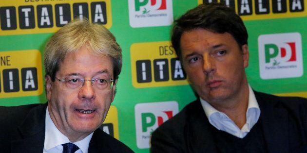 PETRARSA, NAPOLI, CAMPANIA, ITALY - 2017/10/28: Paolo Gentiloni and Matteo Renzi during the Democratic...