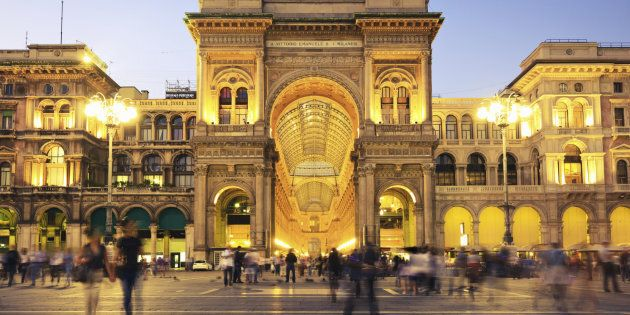 Galleria Vittorio Emanuele II at Piazza del Duomo in Milan, Italy, the famous luxury shopping mall. Night...