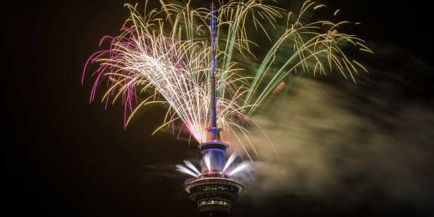 AUCKLAND, NEW ZEALAND - JANUARY 01: Over 5 minutes of fireworks from the Sky Tower welcome in the new...