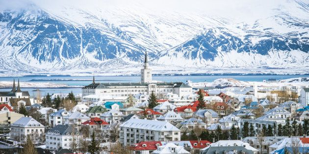 Reykjavik the capital city of iceland in winter view from