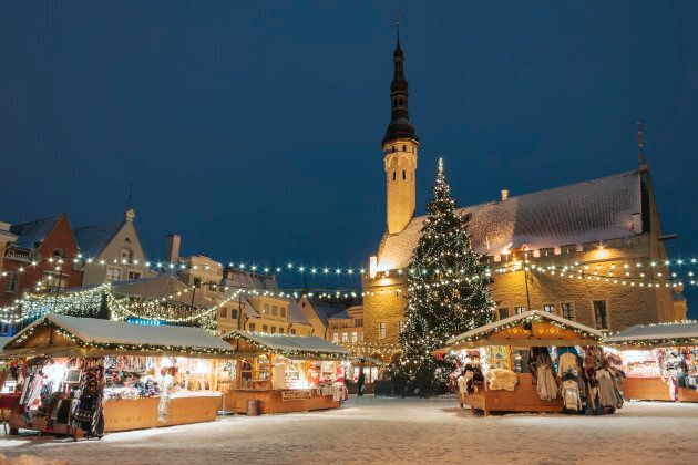Christmas market at town hall square in the Old Town of Tallinn,