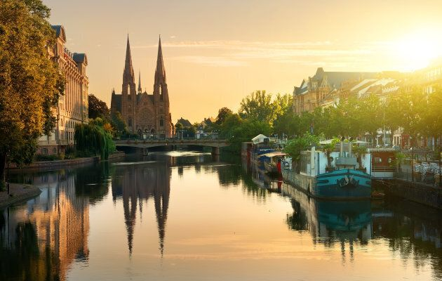 Reformed Church of St. Paul in Strasbourg at sunrise,