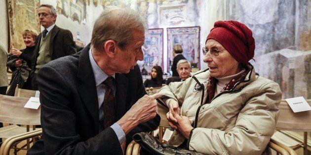 Piero Fassino e Emma Bonino a palazzo Giustiniani durante un incontro in memoria di Umberto Veronesi,...