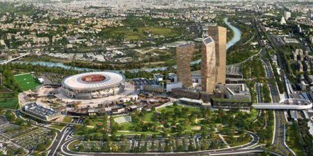 Un rendering del progetto dello stadio dell'As Roma, in un'immagine del 30 maggio