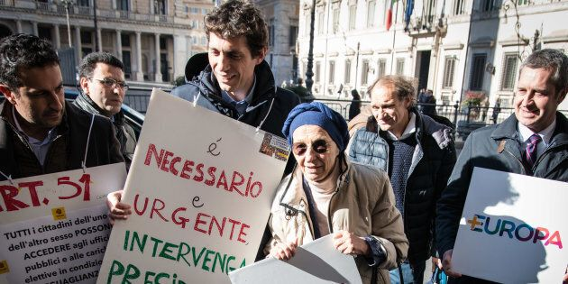 Emma Bonino during Sit-in list + Europe in front of Palazzo Chigi on the obstacles to the collection...