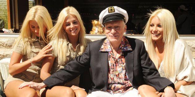 LAS VEGAS - APRIL 04: Kristina Shannon, Karissa Shannon, Hugh Hefner and Crystal Harris attends Hugh...