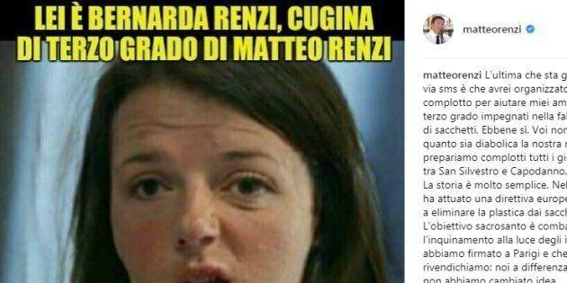 Matteo Renzi contro la fake news che lo prende in giro sui sacchetti
