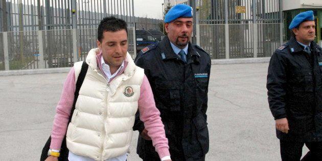 Giuseppe Salvatore Riina (L), the son of the most feared Sicilian Mafia boss, leaves a prison in Sulmona,...
