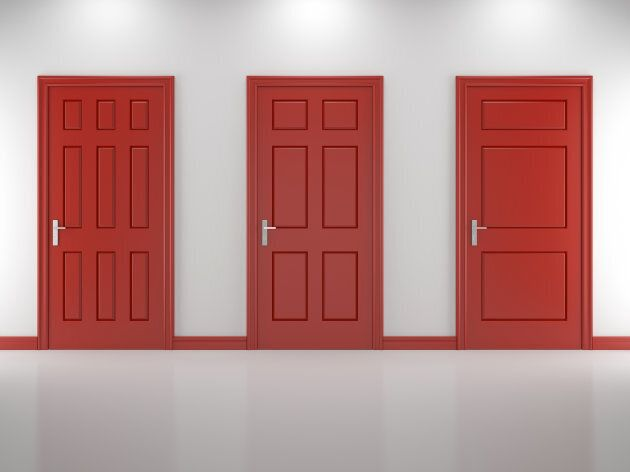 Three closed doors of different design in white