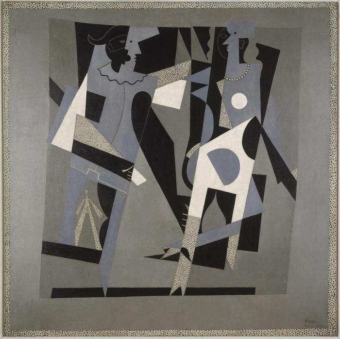 Arlecchino e donna con collana, dipinto, Pablo Picasso (detto), Pablo Ruiz Picasso (1881-1973) pittore...