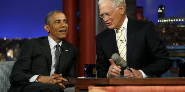 U.S. President Barack Obama tapes an appearance on the Late Show with David Letterman at the Ed Sullivan...