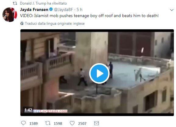 Donald Trump ritwitta tre video anti-islamici dell'ultradestra britannica. Il portavoce di May: