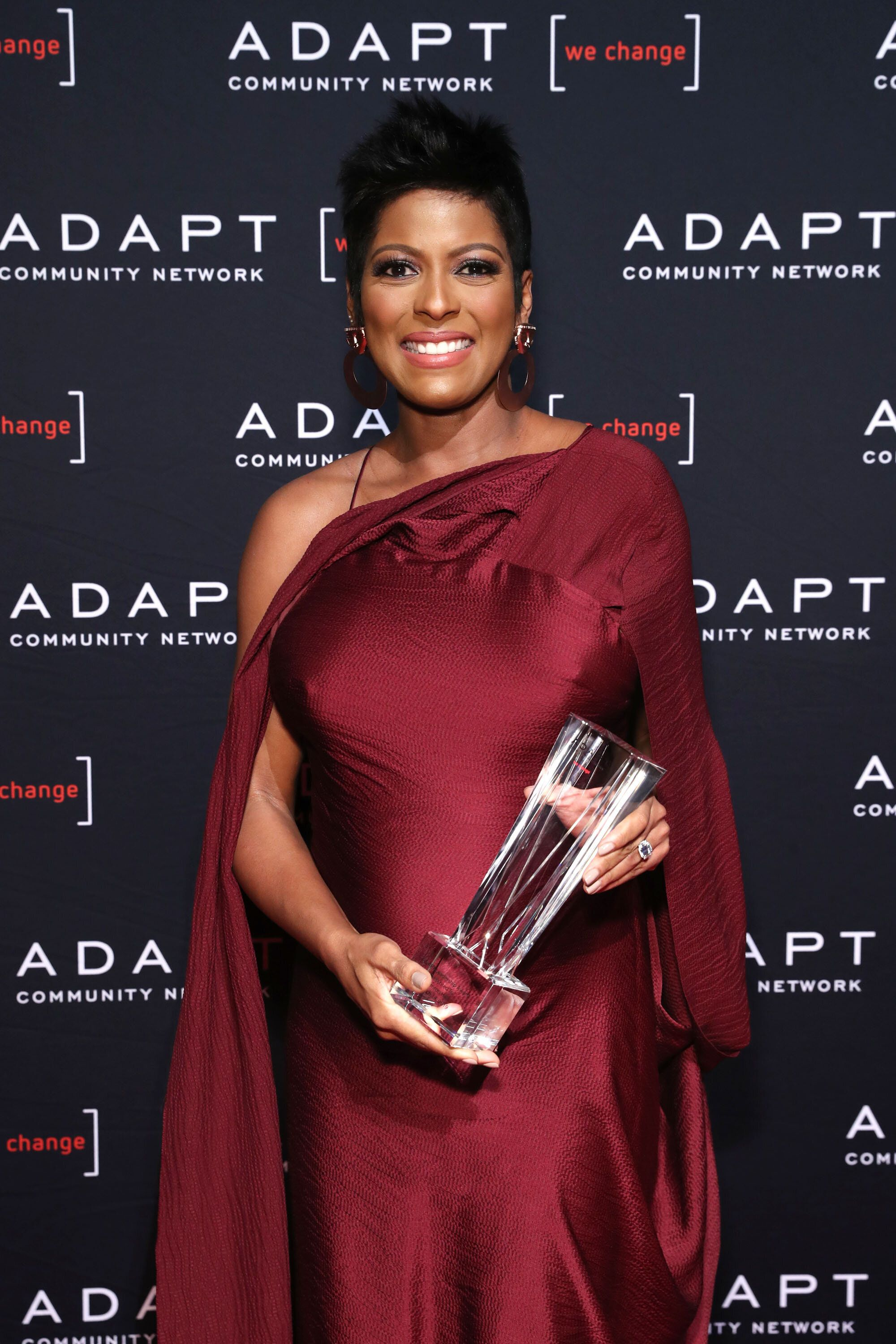 NEW YORK, NEW YORK - MARCH 14: 2019 ADAPT Leadership Award Nominee Tamron Hall poses with her award during the 2019 2nd Annual ADAPT Leadership Awards at Cipriani 42nd Street on March 14, 2019 in New York City. (Photo by Cindy Ord/Getty Images for ADAPT Leadership Awards )