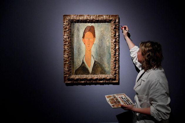 La mostra 'Modigliani' dedicata all'artista livornese Amedeo Modigliani a Palazzo Ducale, Genova, 15...
