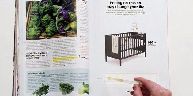 Ikea promuove la culla con un test di gravidanza: