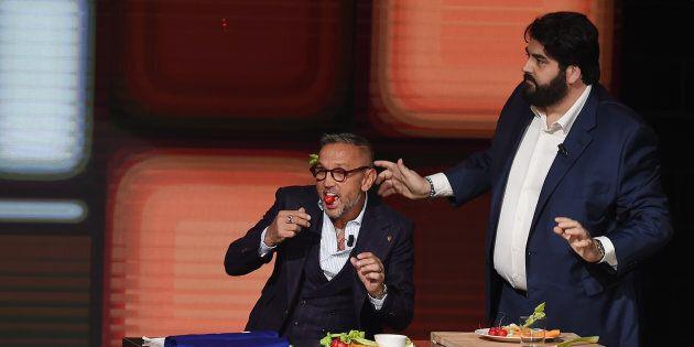 MILAN, ITALY - FEBRUARY 05: Bruno Barbieri and Antonino Cannavacciuolo attend 'Che Tempo Che Fa' Tv Show...