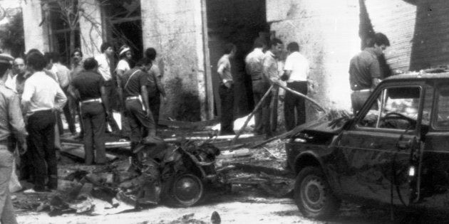 Rocco Chinnici's wasted car after a car bomb exploded near by, Palermo, Italy, 29 July 1983.
