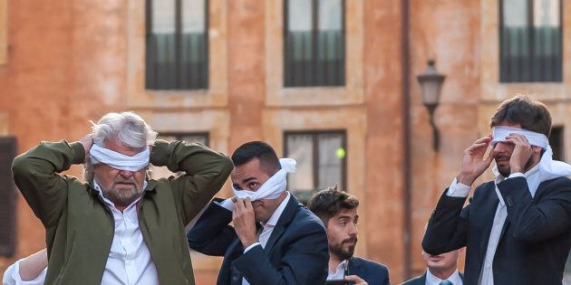 ROME, ITALY - OCTOBER 25: Leaders Five Star Movement (M5S) Beppe Grillo (L), Luigi Di Maio (C) and Alessandro...