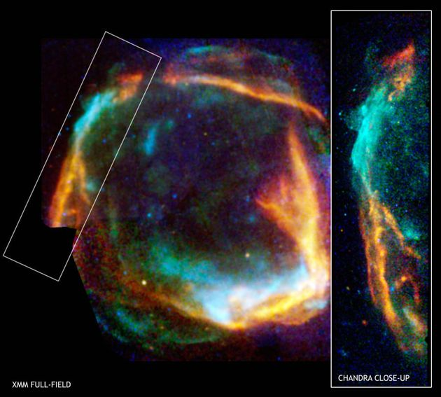Paris, FRANCE: This combined image from the Chandra and XMM-Newton X-ray observatories of RCW 86 released...