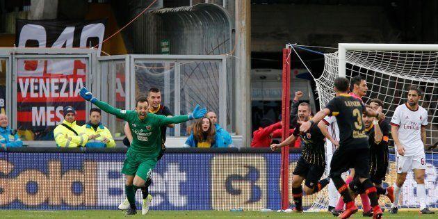 Benevento's goalkeeper Alberto Brignoli (L) jubilates after scoring the goal during the Italian Serie...