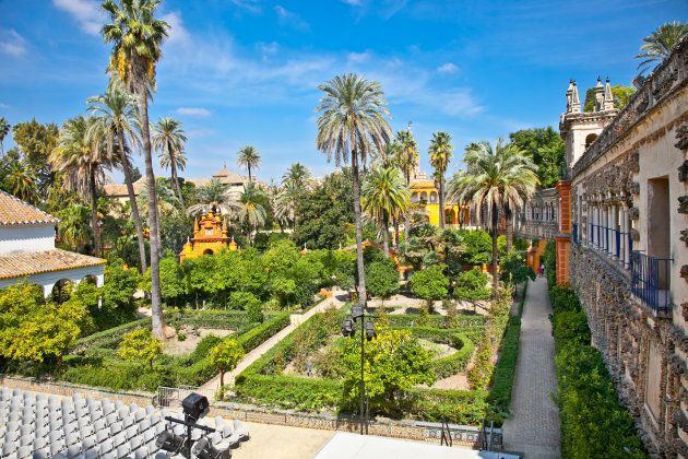 Real Alcazar 'Reales Alcazares' gardens in Seville, Andalusia,