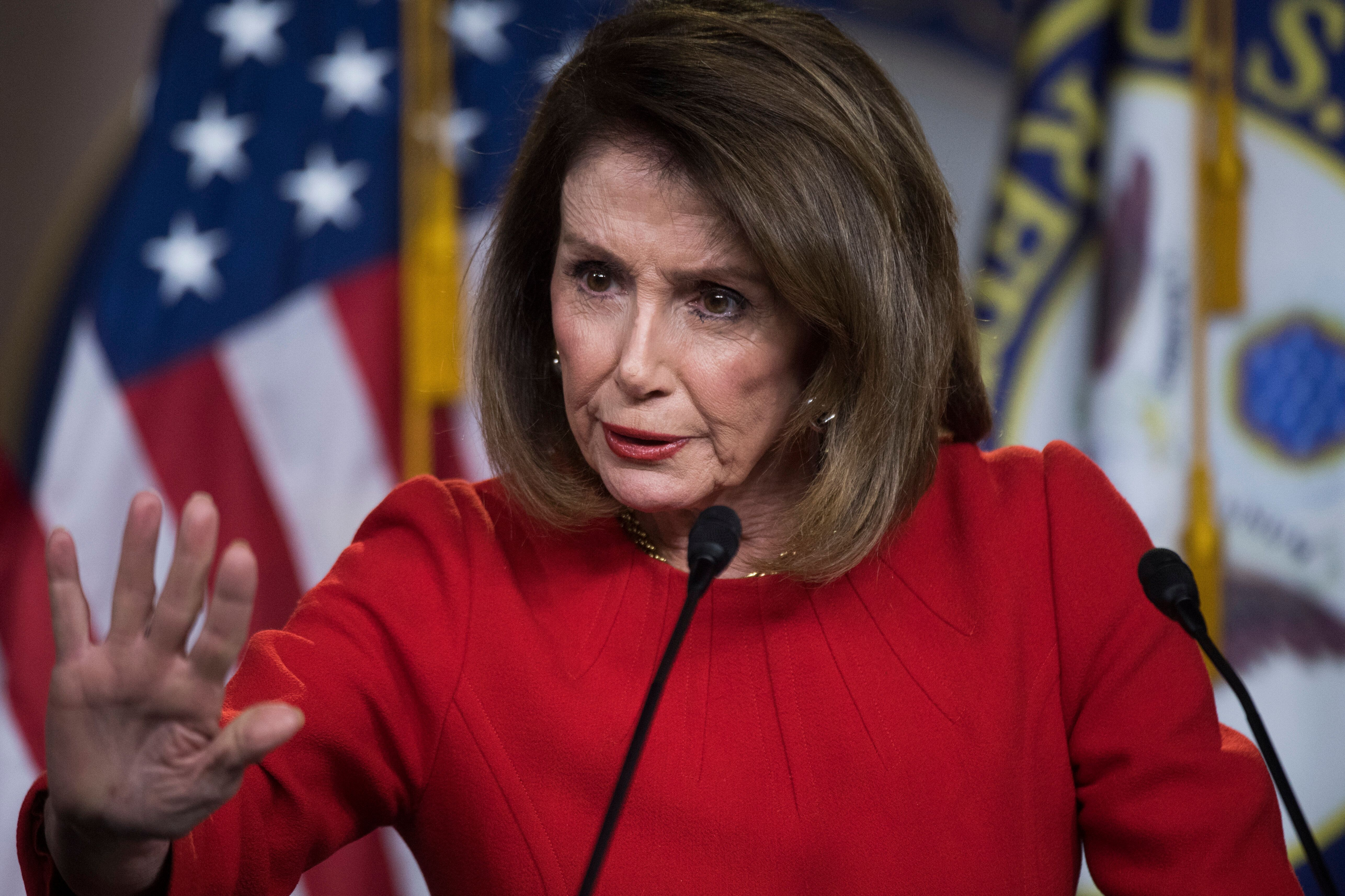 UNITED STATES - APRIL 4: Speaker Nancy Pelosi, D-Calif., conducts her weekly news conference in the Capitol Visitor Center on Wednesday, April 4, 2019. (Photo By Tom Williams/CQ Roll Call)
