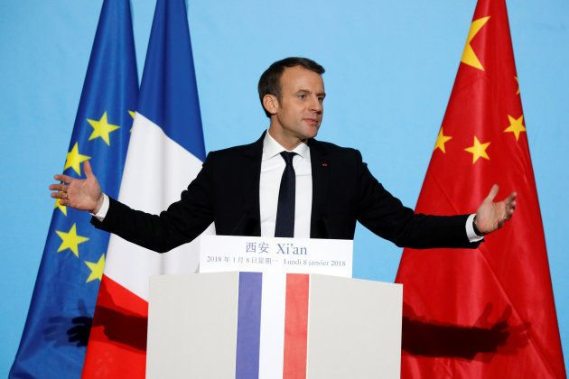 French President Emmanuel Macron delivers his speech at the Daming Palace in Xian, Shaanxi province,...