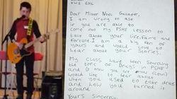 Il piccolo Sam scrive una lettera a Noel Gallagher: