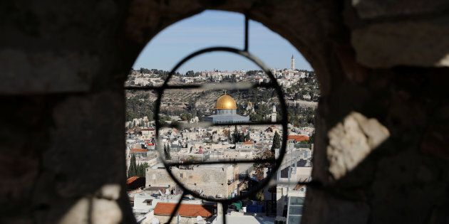 A general view shows the Dome of the Rock and Jerusalem's Old City from David Tower December 4, 2017....