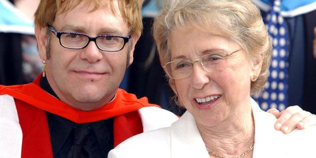 Sir Elton John with his mother, smiles after receiving an Honorary Doctorate from the Royal Academy of...