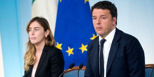 Roma 10/05/2016, conferenza stampa a margine del Consiglio dei Ministri. Nella foto Maria Elena Boschi,...