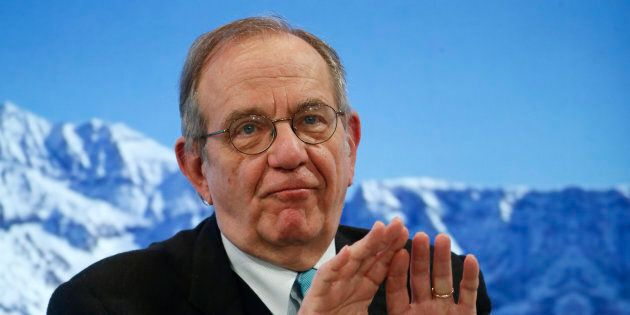 Pier Carlo Padoan, Minister of Economy and Finance of Italy attends the annual meeting of the World Economic...