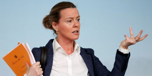 Italy's Health Minister Beatrice Lorenzin gestures during a news conference at the end of a cabinet meeting...