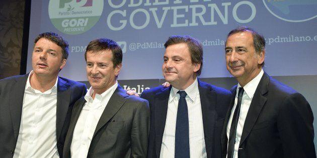 (S-D) Matteo Renzi, Giorgio Gori, Carlo Calenda e Giuseppe Sala durante l'incontro elettorale organizzato...