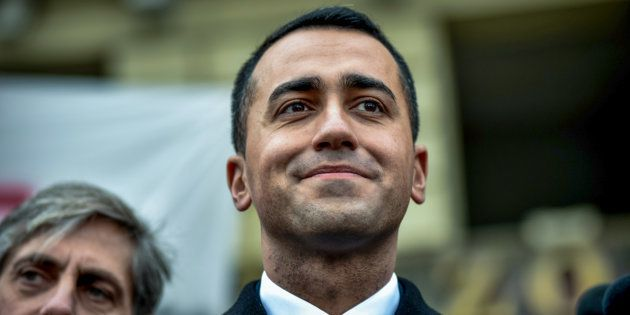 Luigi Di Maio, leader of the anti-establishment Five Star Movement (M5S), attends a flash mob, during...