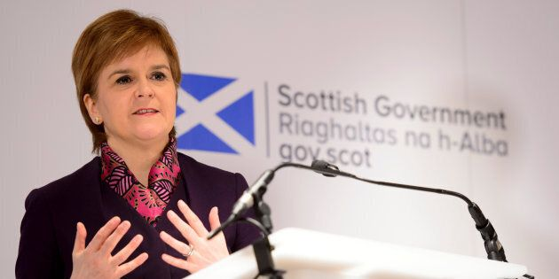 Scotland's First Minister Nicola Sturgeon speaks at the launch of an analysis paper on Scotland's future...