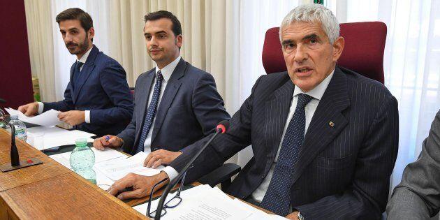 Alessio Villarosa, Carlo Sibilia e Pier Ferdinando Casini durante la prima convocazione della Commissione...