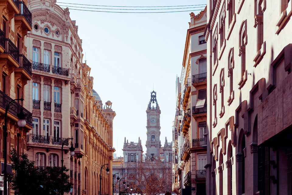 street view of downtown valencia, is Spain's third largest metropolitan area, with a population ranging...