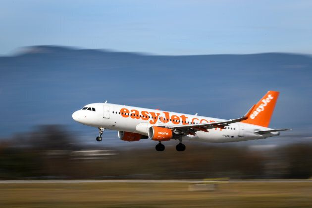 An Airbus A320-214 commercial plane registration G-EZWJ of low-cost carrier EasyJet is seen landing at...