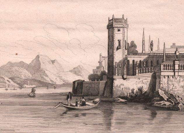 View of Isola Bella, Lake Maggiore, Piedmont, Italy, steel engraving, ca 13x11 cm, from Italie pittoresque,...
